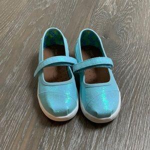 🆕 TOMS Blue Iridescent Mary Jane w/Velcro Straps